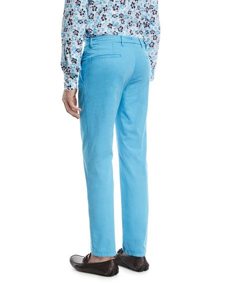 Flat-Front Chino Pants, Aqua Blue