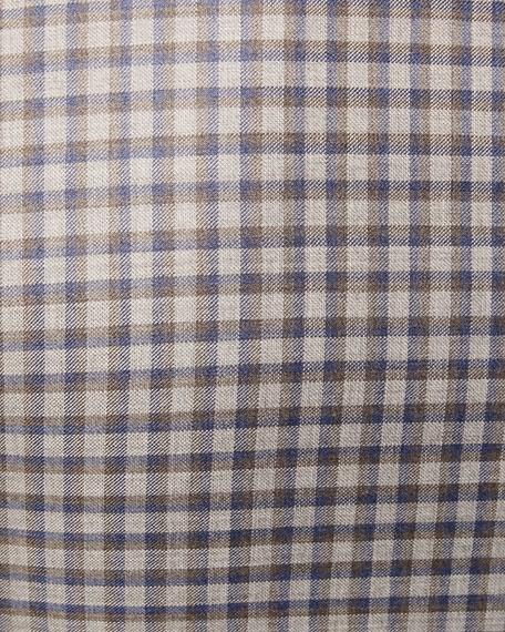 Check-Print Two-Button Blazer