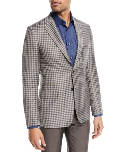Check-Print Two-Button Blazer