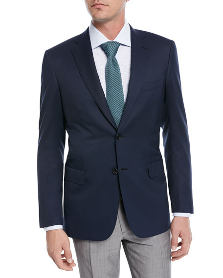 Solid Wool Two-Button Blazer
