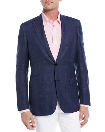 Windowpane Wool-Silk Jacket