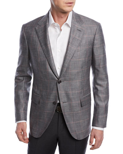 Windowpane Wool-Blend Jacket