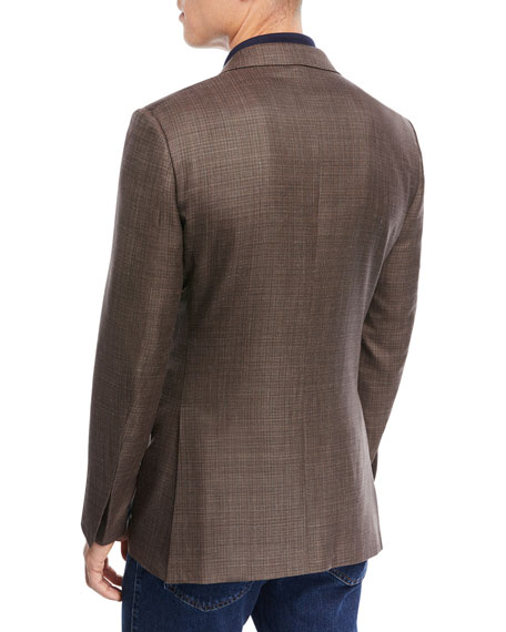 Textured Wool Triblend Blazer, Brown
