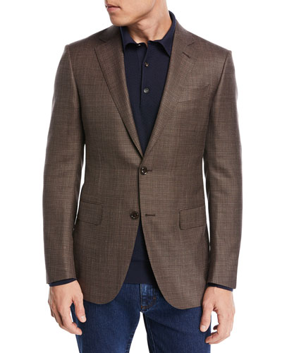 Textured Wool Triblend Blazer, Brown