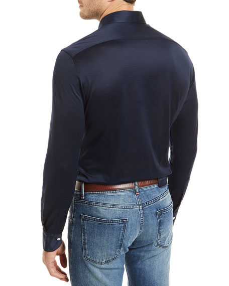 Knit Long-Sleeve Sport Shirt