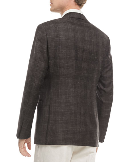 Plaid Cashmere-Blend Two-Button Blazer