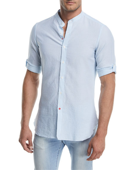 Mandarin-Collar Striped Seersucker Shirt