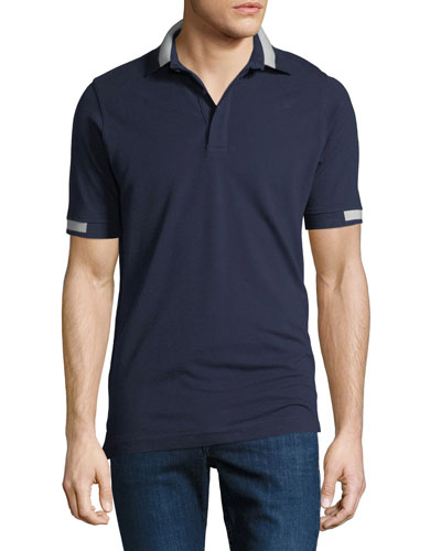 Men's Piqué Knit Cotton Polo Shirt, Navy Blue