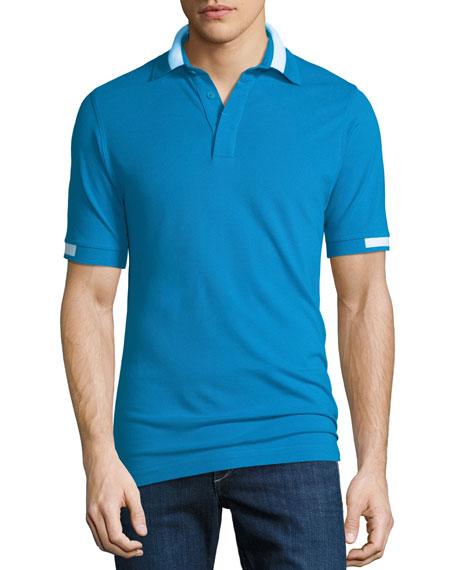Kiton Men's Piqué Knit Cotton Polo Shirt, Aqua
