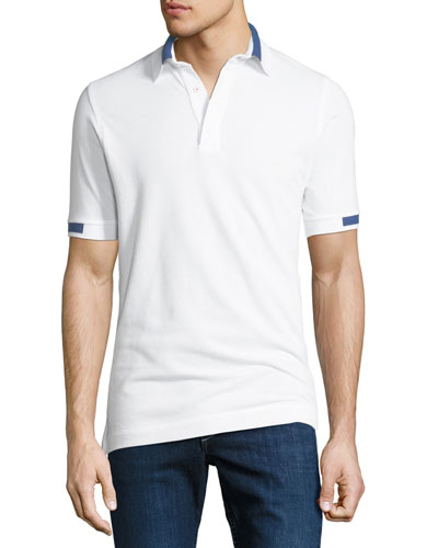 Men's Piqué Knit Cotton Polo Shirt, White
