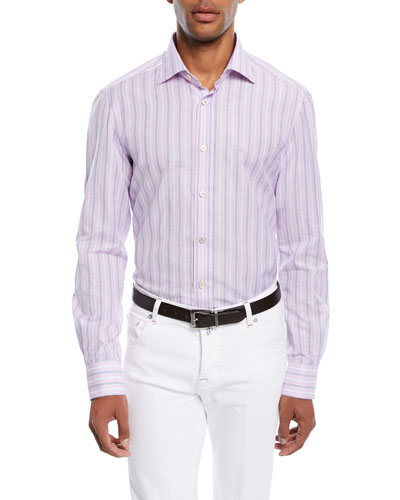 Multi-Stripe Cotton/Linen Sport Shirt