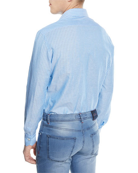 Striped Cotton/Linen Sport Shirt