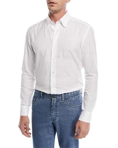 Jacquard Plaid Long-Sleeve Shirt
