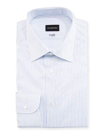 Cento Fili Three-Line Stripe Dress Shirt