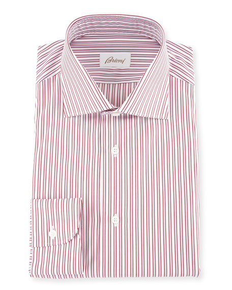 Two-Tone Striped Dress Shirt