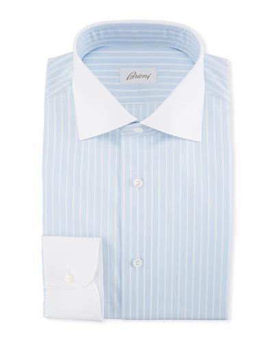 Striped Dress Shirt with Contrast Collar & Cuffs