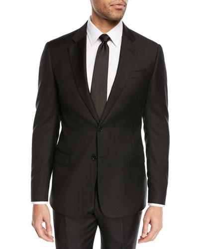 Super 130s Wool Two-Piece Suit  Black