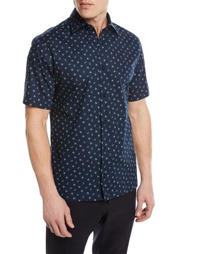 Anchor Pattern Short-Sleeve Sport Shirt
