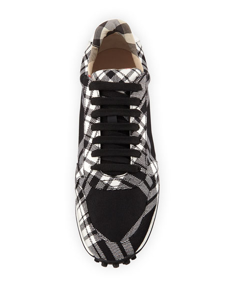 Travis Tartan Check Wool Sneaker, Black/White