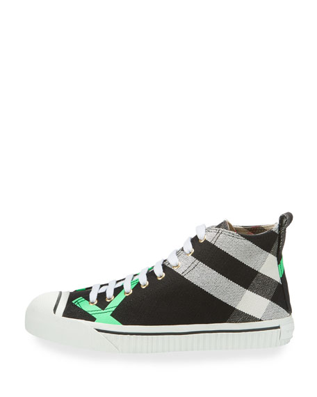Bright Check-Print High-Top Sneaker, Green Pattern