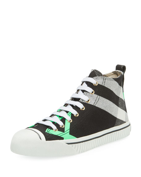 Bright Check-Print High-Top Sneaker, Green Pattern