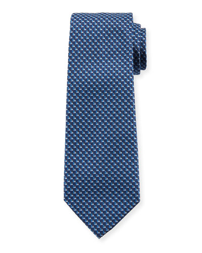 V Box Silk Tie, Blue