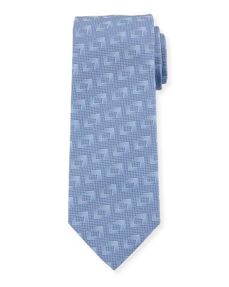 Giorgio Armani Solid Geometric Silk Tie, Blue