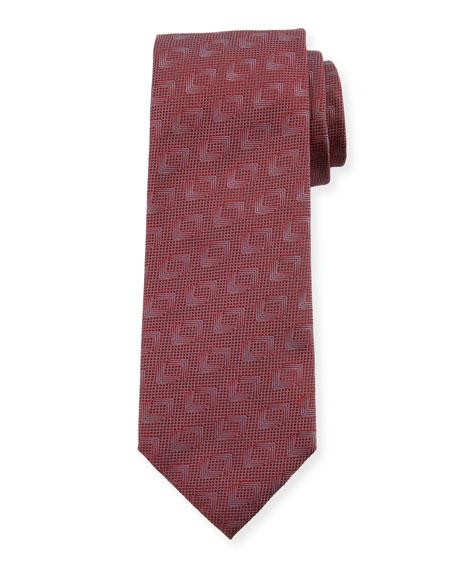 Giorgio Armani Solid Geometric Silk Tie, Fire