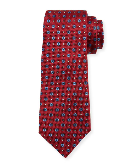 Floral Basketweave Silk Tie