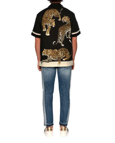 Leopard-Print Short-Sleeve Bowling Shirt