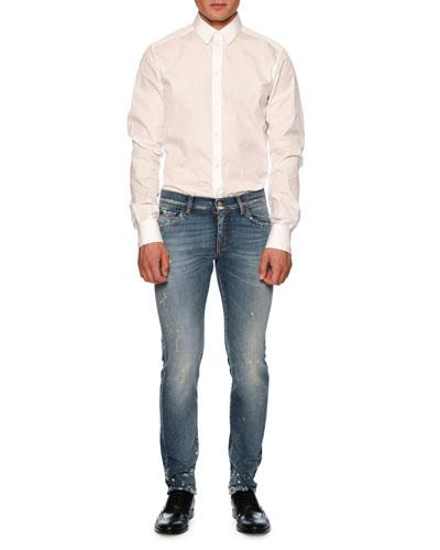 Distressed Slim-Fit Denim Jeans