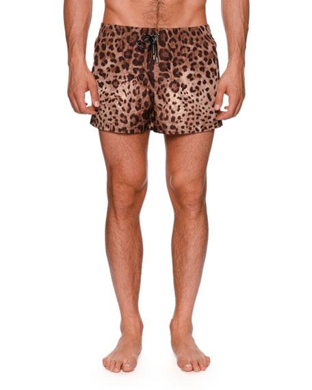 Leopard-Print Swim Trunks