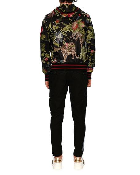 Floral Leopard-Print Wind-Resistant Jacket