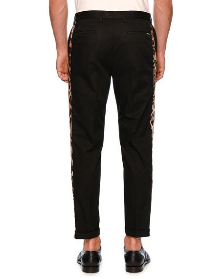 Leopard-Stripe Chino Tuxedo Pants