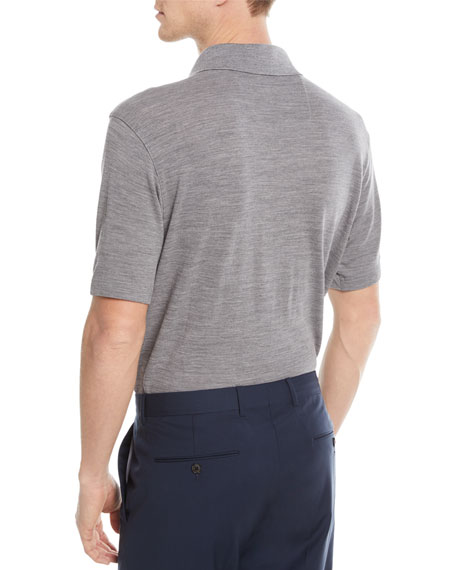 Heathered Wool Polo Shirt