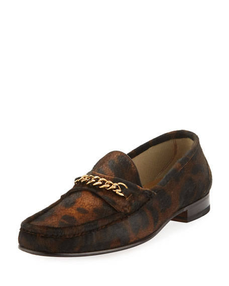 York Chain-trimmed Leopard-print Calf Hair Loafers - BrownTom Ford 9o6I5x