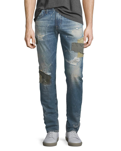 Tellis Patched Distressed Jeans