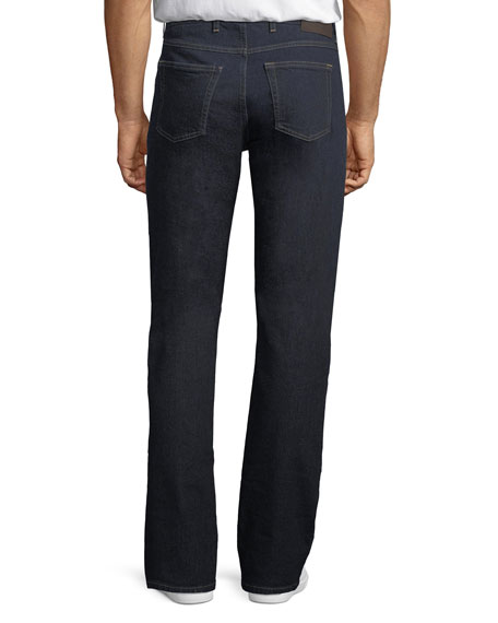Stretch-Denim Straight-Leg Luxury Jeans