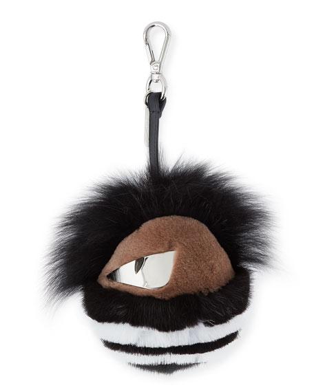 Striped Fur Monster Charm for Men's Bag, Black
