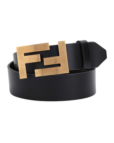 Fendi Double-F Buckle Leather Belt