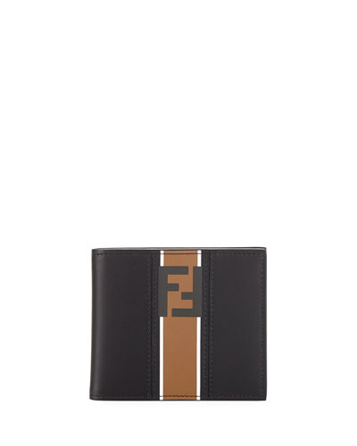 Forever Logo Striped Leather Bifold Wallet