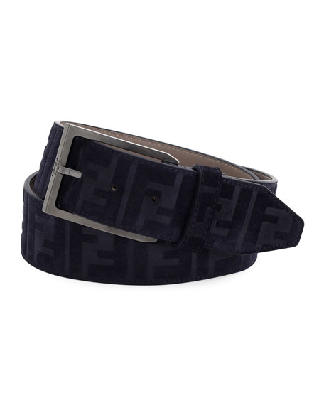 Fendi Logo-Embossed Suede Belt