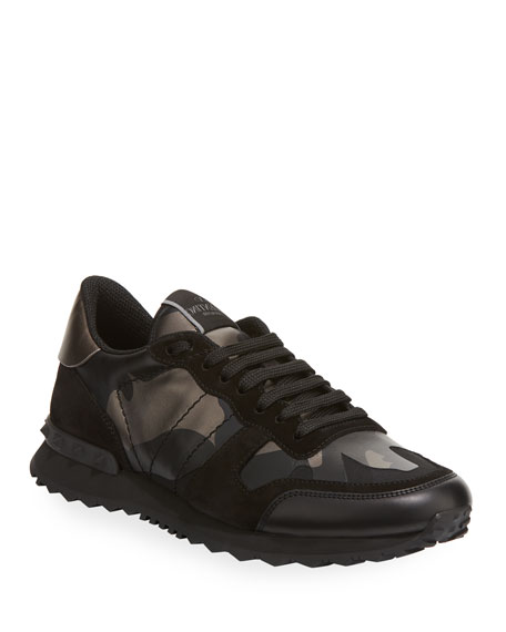 Valentino Garavani Men's Rockrunner Camo Leather Sneaker
