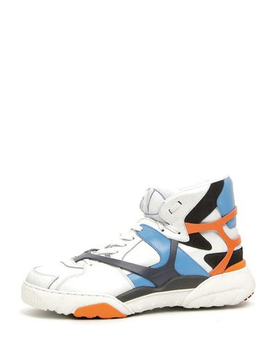 Retro Logo Leather High-Top Sneaker, Blue/Orange