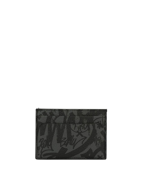 Bhar Graffiti-Print Leather Card Case