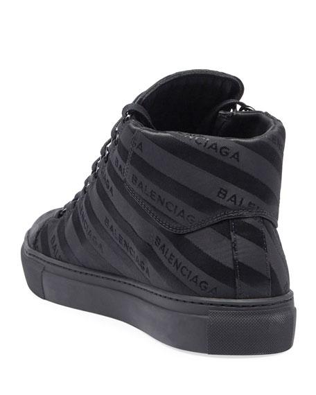 94045019e61e0 Balenciaga Men s Arena Striped Leather Mid-Top Sneaker