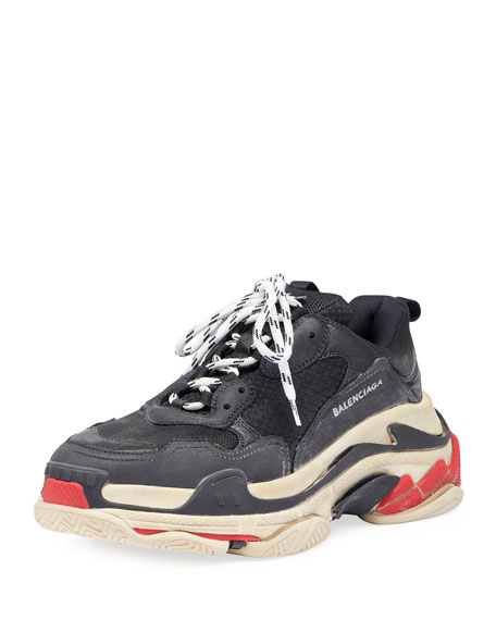 Men's Triple S Mesh & Leather Trainer Sneakers, Black