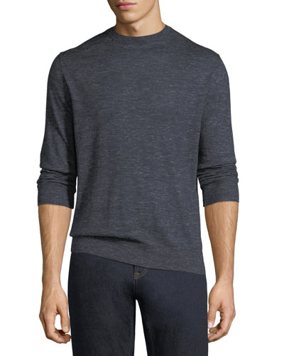 Cashmere-Silk Heathered-Knit Crewneck Sweater