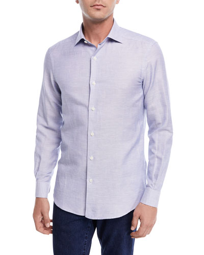 Band-Collar Cotton-Linen Shirt, Light Blue