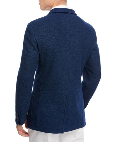 Denim Cotton Jersey Two-Button Jacket